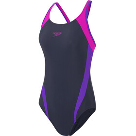 speedo Splice Costume Da Bagno Donna, true navy/violet/diva